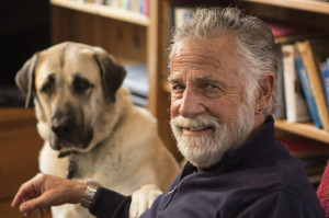 Jonathan Goldsmith with his dog Willy