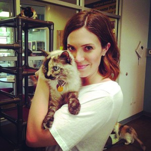 Mandy Moore snuggles with a cat at Maxfund. Photo used with permission from Untitled Management